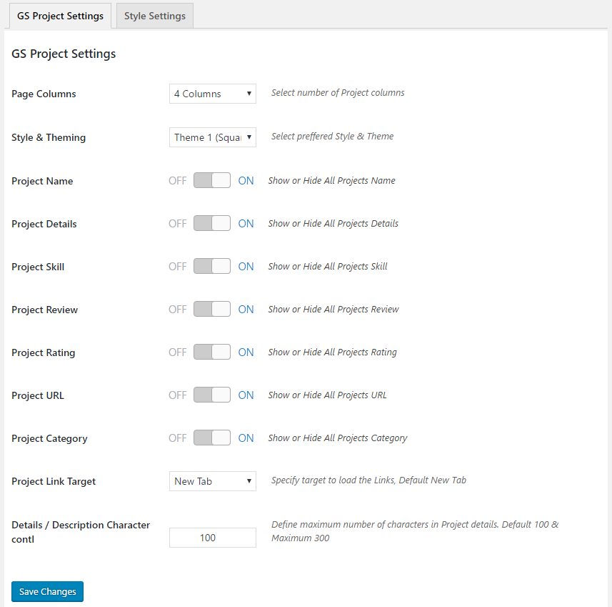 GS Project General Settings
